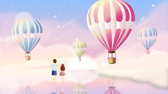 Chinese valentines day romantic hot air balloon view, Mobile Phone With Picture, Illustration, Summer illustration image