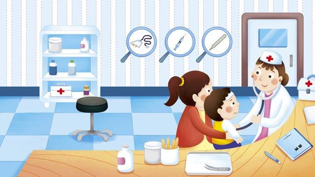 Medical scene mother with children hospital treatment illustration llustration image illustration image