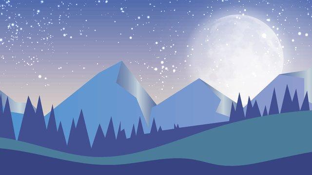 Moon cartoon vector illustration, Moon, Cartoon, Blue illustration image