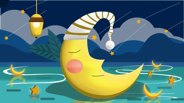 Simple and fresh moon good night illustration, Moon, Fresh, Good Night illustration image