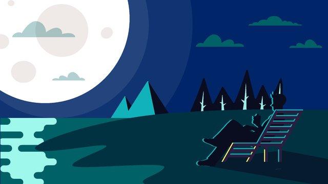 Moon cartoon vector illustration, Moonlight, Beautiful, Night illustration image
