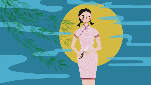 Original illustration moonlight woman wearing pink cheongsam, Moonlight, Night, Cheongsam illustration image