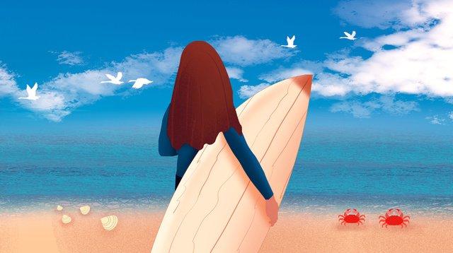 안녕하세요 서핑 소녀 삽화 소재 삽화 이미지