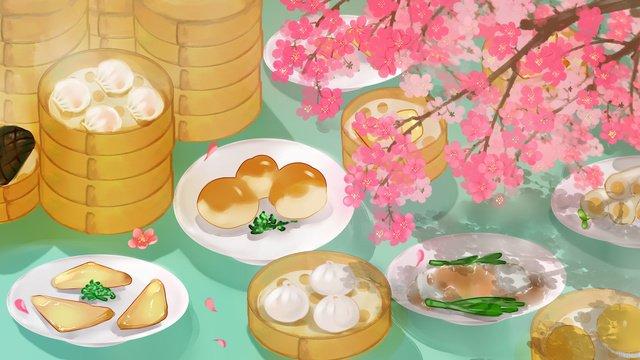 廣式早茶城市美食插畫 插畫素材