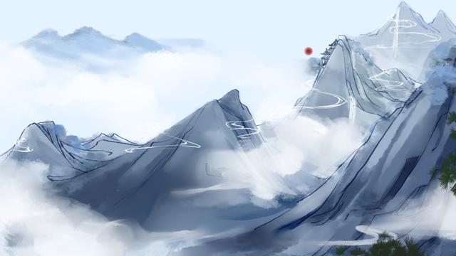 산 구름 풍경 손으로 그린 그림 삽화 소재 삽화 이미지