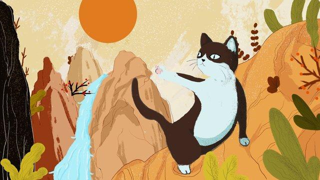원래 만화 일러스트 산 이야기 고양이 삽화 소재