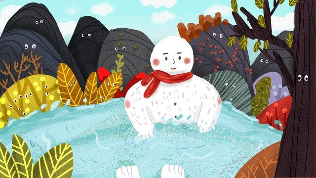 mountain story 목욕탕에 귀여운 만화 눈사람 삽화 소재 삽화 이미지