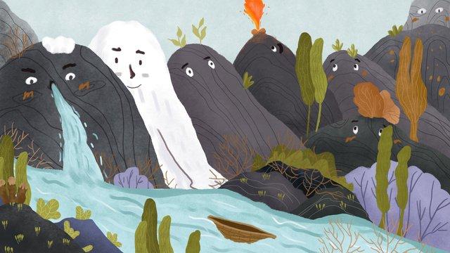 mountain story 귀여운 엘프 삽화 소재 삽화 이미지