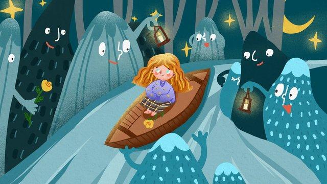 마운틴 스토리 소녀 산에서 표류 재미 있은 그림 삽화 소재