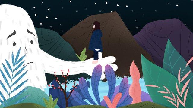 마운틴 스토리 little girl s jungle tour 삽화 소재 삽화 이미지