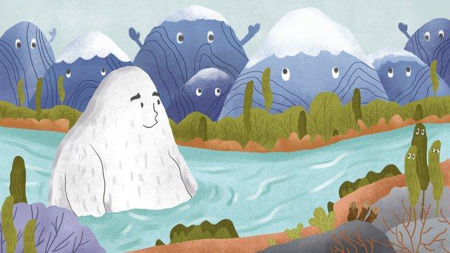 마운틴 스토리 스피릿 강 해수욕장 삽화 소재 삽화 이미지