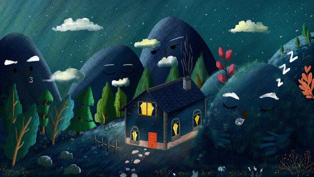 xiaoqingshan mountain story nightイラストレーション イラスト素材 イラスト画像
