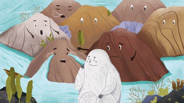 마운틴 스토리 울고있는 산 정신 삽화 소재 삽화 이미지