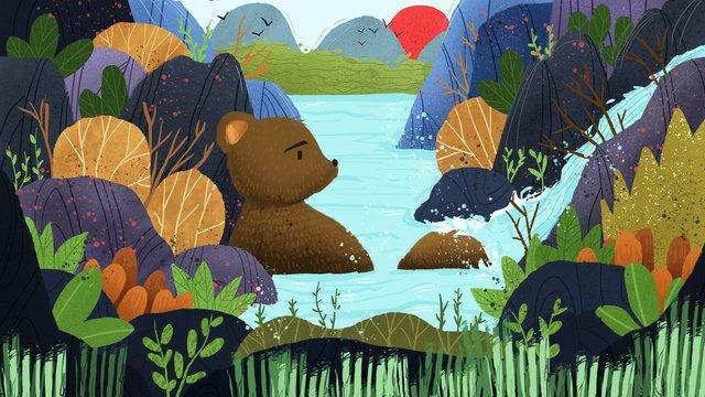 최초의 산악 기록 국가 바람 풍경 의인화 곰 목욕 일러스트레이션 삽화 소재