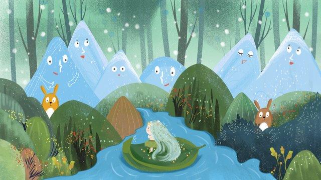 पहाड़ की कहानी वन राजकुमारी रोमिंग मूल चित्रण चित्रण छवि