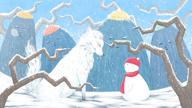 mountain story illustration winter hello white wolf and little snowman llustration image