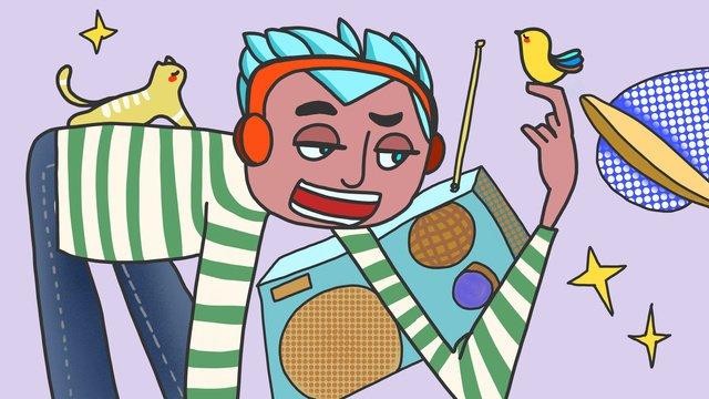 音樂節男孩聽音樂商業可愛插畫 插畫素材 插畫圖片