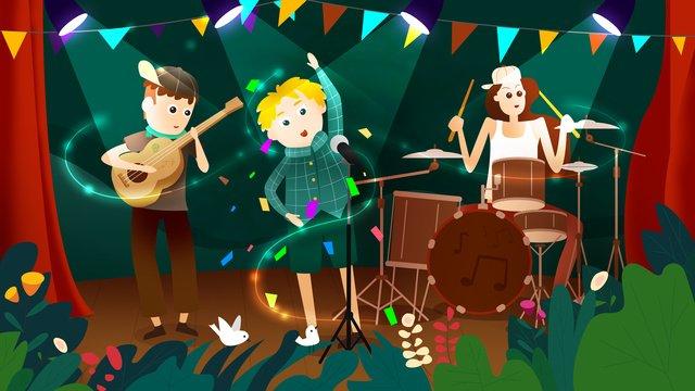 celebração verde forest music festival Imagem de llustration imagem de ilustração