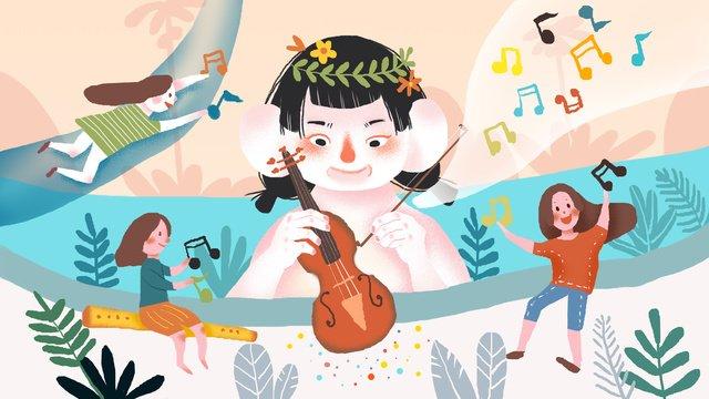 音樂節拉小提琴創意小清新插畫 插畫素材