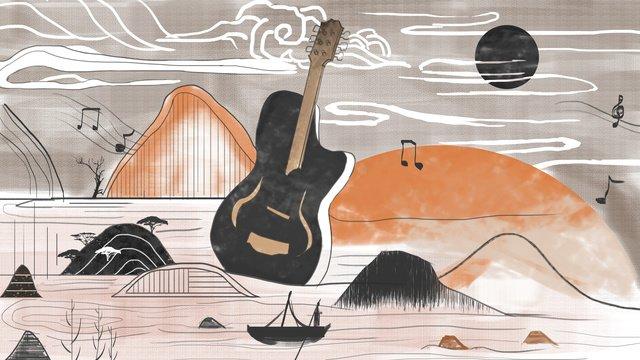 音楽祭レトロな風景のイラスト イラストレーション画像