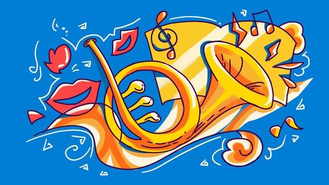 音楽祭ファッション線画ストロークカラーホーン西洋楽器ハンドイラスト イラスト素材