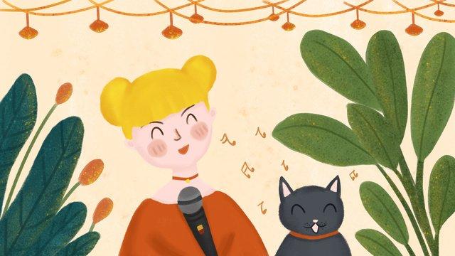 เทศกาลดนตรี girls and cats music party ภาพ ภาพภาพประกอบ
