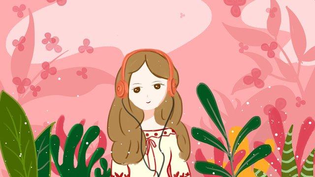 聽音樂的女孩 插畫素材 插畫圖片