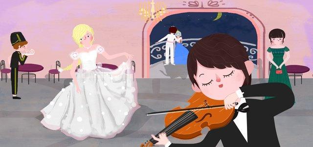 音樂節music舞會小提琴樂曲小清新插畫 插畫素材 插畫圖片