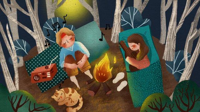 音樂節夜晚露營男孩女孩聽音樂溫馨插畫 插畫素材