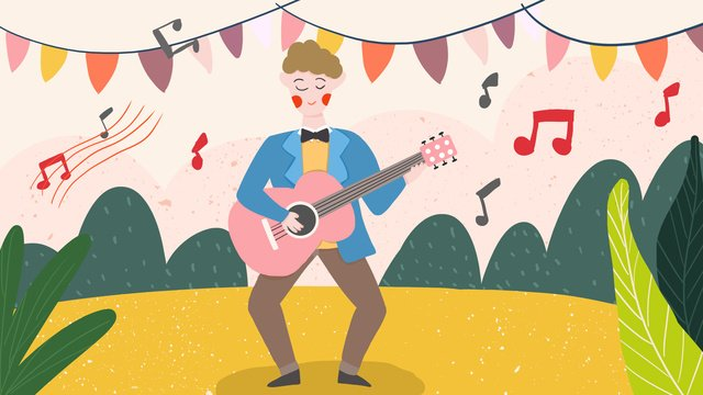 音楽祭、ギターを弾く、音楽を歌う、フラットウィンド、手描きイラスト、携帯電話のイラスト イラスト素材