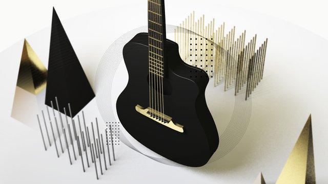 music festival guitar c4d musical instrument delicate realistic scene illustration metal llustration image illustration image