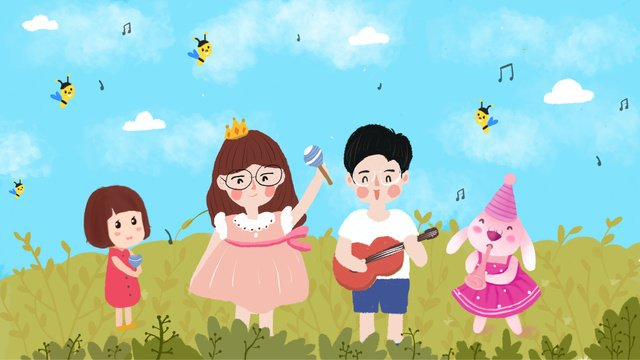 Simple and fresh grass festival illustration, Music, Music Festival, Boy illustration image