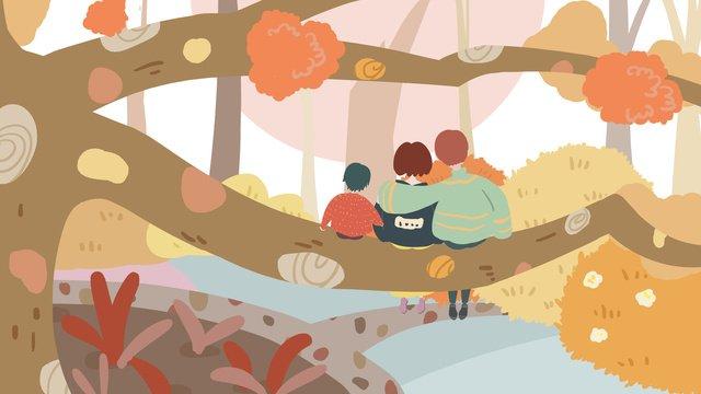 Narrative autumn family of three watching the sunset warm cartoon illustration llustration image