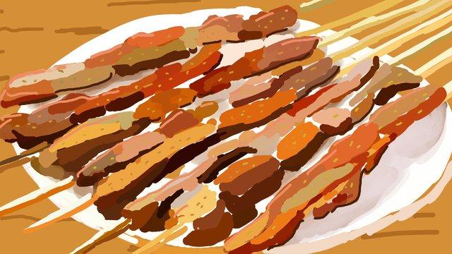 原創插畫民族特色美食新疆烤羊肉串 插畫素材