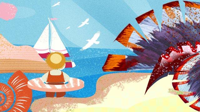 國慶出遊旅游海邊度假遊玩插畫 插畫素材