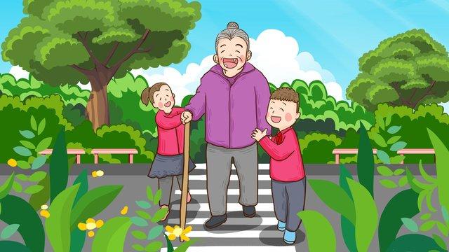 全国交通安全デー、養育費、老齢、道路横断、手描きイラスト全国  交通安全デー  こども PNGおよびPSD illustration image