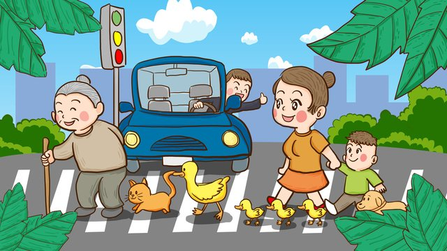 Национальный день безопасности дорожного движения люди организованно переходят дорогу ручная роспись иллюстрации Ресурсы иллюстрации