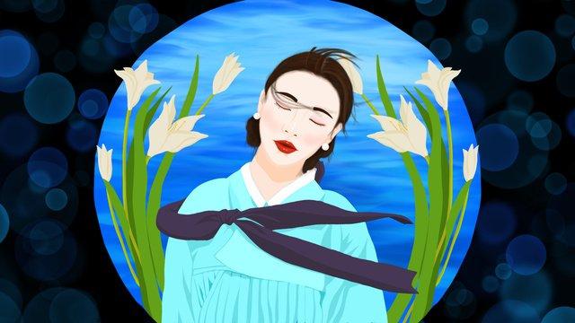 Ethnic characteristics korean costumes dream-seeking girls beautiful healing dreams, Nationality, National Characteristics, Korean Nation illustration image