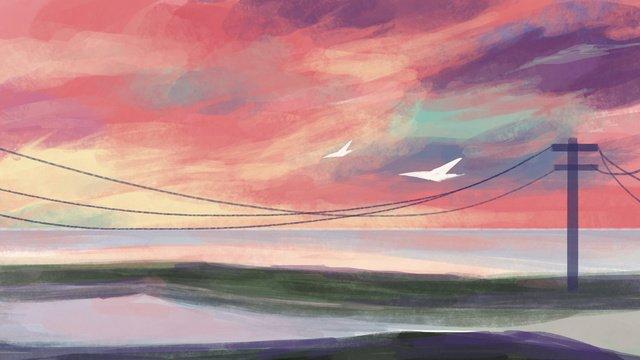Neon skyline, Neon, Color, Wetlands illustration image
