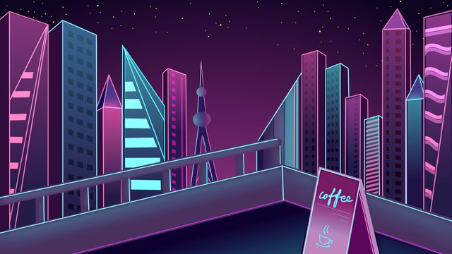 Neon skyline city night view nightlife llustration image illustration image