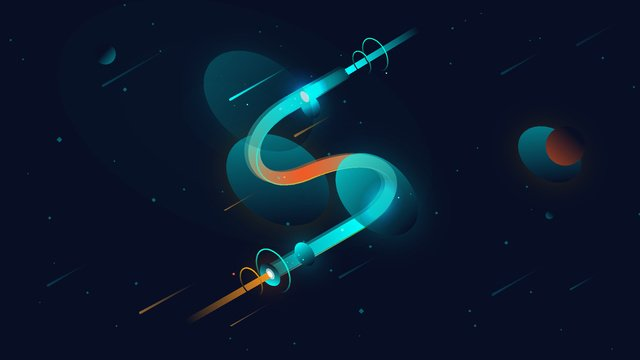 neon letter s universe planet original vector illustration llustration image