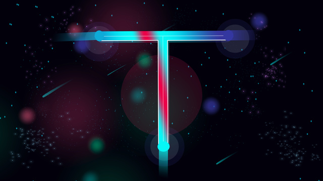Neon t letter series gradient flat wind trend sky starry, Neon Skyline, Alphabet Series, 邂逅 Letter illustration image