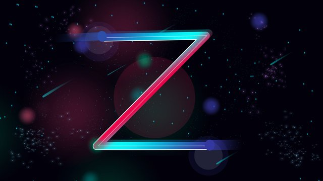 neon skyline letters series zs gradient flat wind stars meteor llustration image