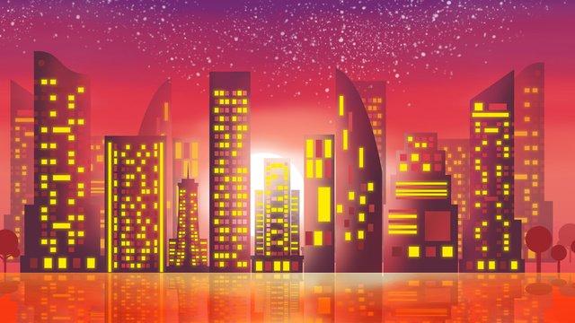 bandar teknologi pencahayaan neon skyline city imej keterlaluan