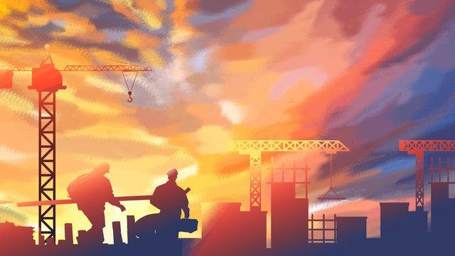 pekerja pembinaan di bawah kaki langit neon imej keterlaluan imej ilustrasi