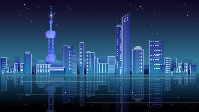 Неоновый горизонт впечатление Шанхай градиент город ночная сцена синий технологии смысл Ресурсы иллюстрации Иллюстрация изображения