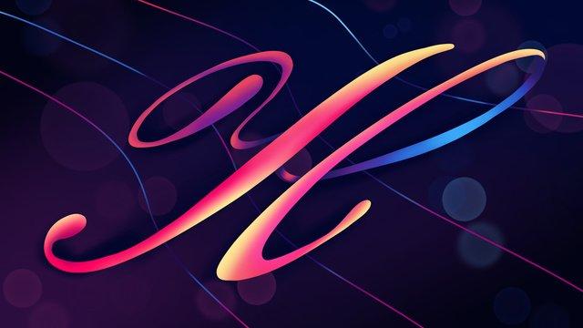 neon skyline swashes letter h hand painted poster illustration wallpaper llustration image illustration image