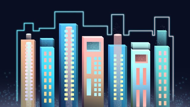 Neon skyline three dimensional city buildingThành  Phố  Giấy PNG Và PSD illustration image