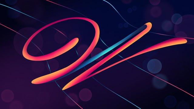 neon skyline swashes letter w hand drawn poster illustration llustration image illustration image