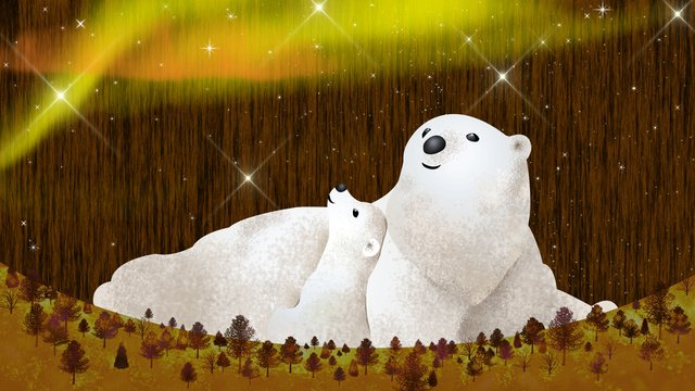 Neon sky starry universe cosmic polar bear, Neon Skyline, Starry Sky, Universe illustration image